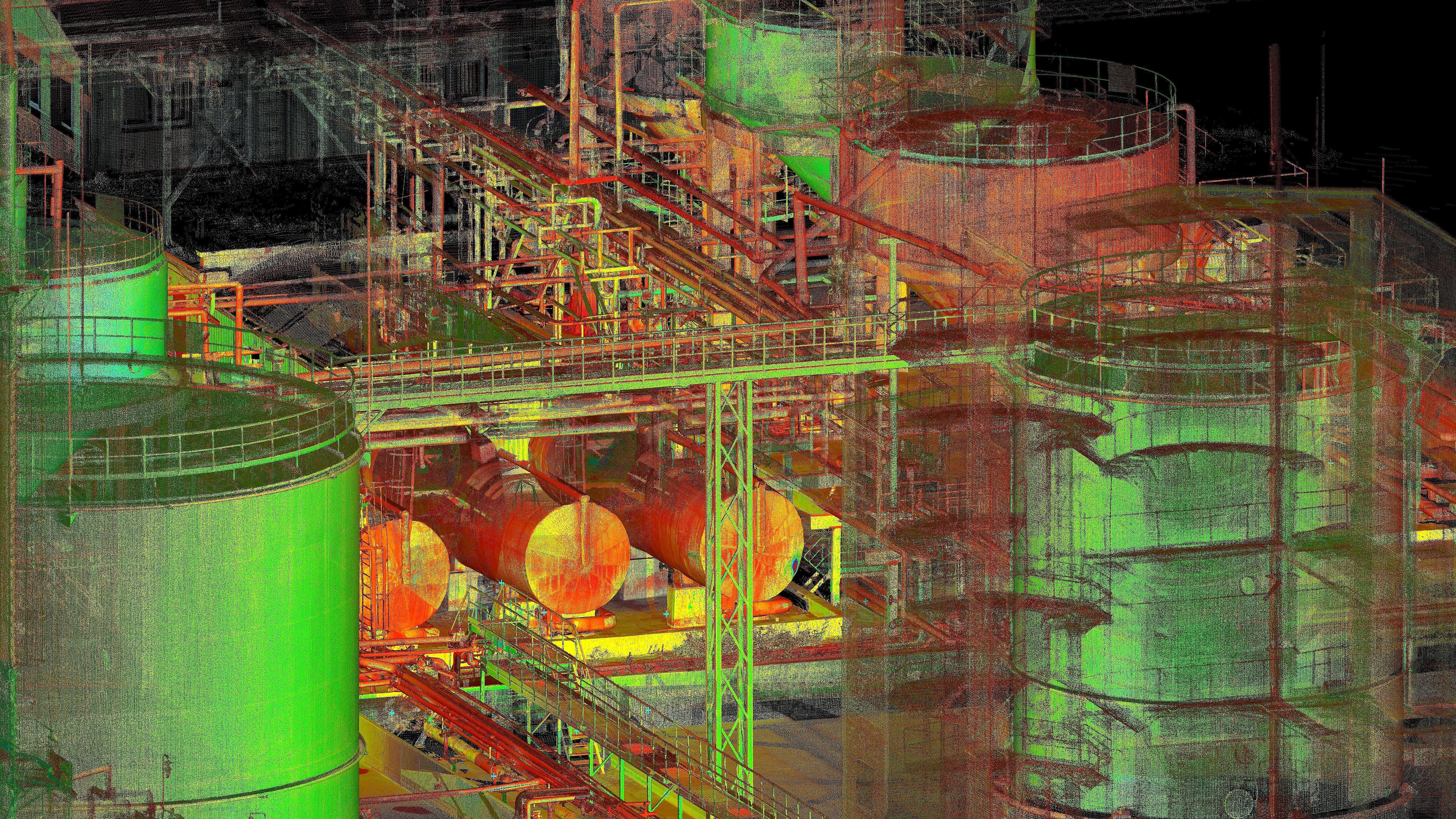 Laser scanning of the industriaal piping system in Kiviõli, Estonia