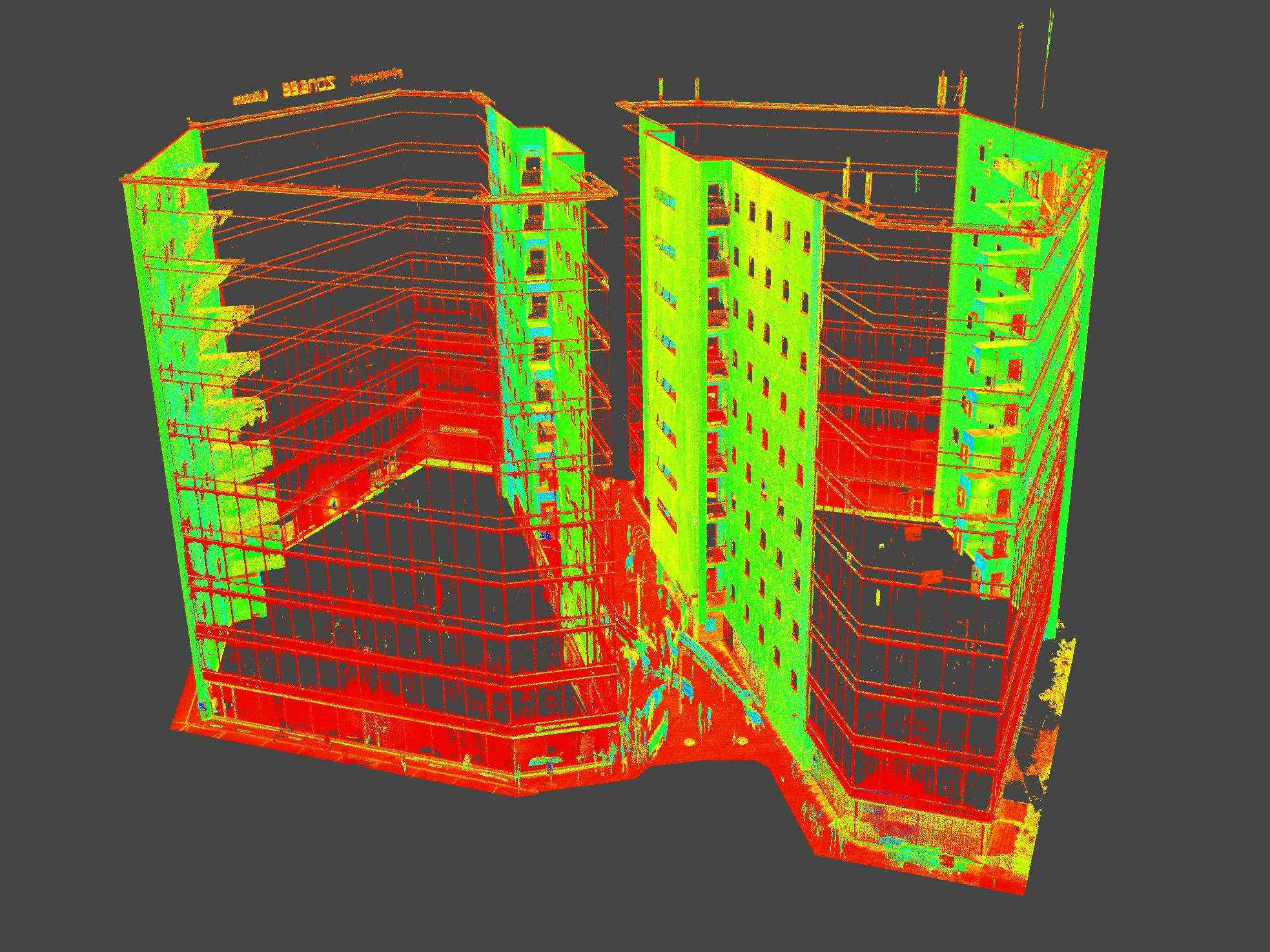 Laser scanning of the facades of the buildings Lõõtsa 2a and Lõõtsa 2b in Tallinn