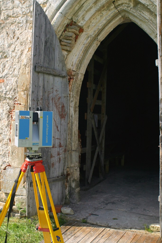 Laser scanning of the Pöide church, Estonia